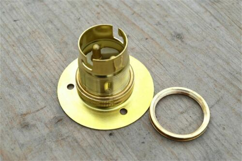 BRASS BAYONET B22 WOODEN LAMP BULB HOLDER LAMP HOLDER EARTHED C//W SHADE RING 9E