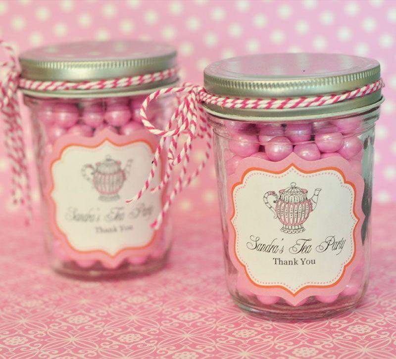 96 Personalized Tea Party Theme Mini Mason Jars Wedding Favor Candy Jars