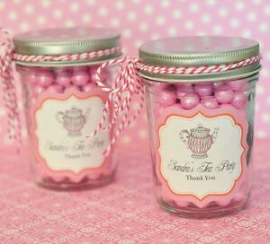 24 Personalized Tea Party Theme Mini Mason Jars Wedding Favor Candy ...