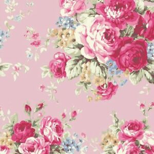 Cottage-Shabby-Chic-Quilt-Gate-RURU-Bouquet-Rose-in-Paris-RU2370-11C-Pink-BTY