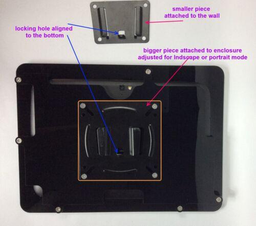 Samsung Galaxy Tab 3//4 8.0 Black Acrylic Security Enclosure w Wall Mount Kit