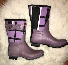 HUNTER Original Short Rain BootS Rubber Rain Boots Short PURPLE Plaid Size 7 NEW