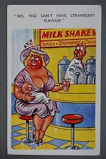 R&L Postcard: Comic, Jester, Milkshake, Woman with Large Breasts
