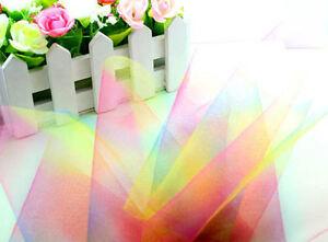 """5/25/100yd 6"""" rainbow tulle fabric tutu trim Wedding Decoration dress L1976"""