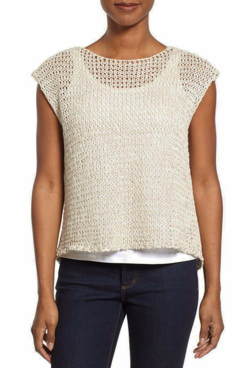 Eileen Fisher Crisp Organic Cotton Tape Jewel Nk Top Wrap Back Bone XL NWT