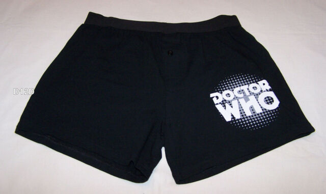 Doctor Who Logo Mens Black Printed Cotton Boxer Shorts Size M New