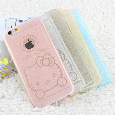 "Cartoon Glitter Gel TPU Back Case Cover For iPhone 5s 6/6 plus 5.5"" Samsung S6"