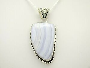 Polished-Blue-Lace-Agate-solid-925-Sterling-Silver-Pendant-Necklace-Boxed