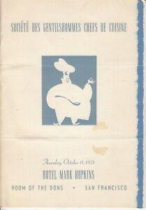 Societe Des Gentilshommes Chefs De Cuisine Luncheon Menu, 1950s San Francisco
