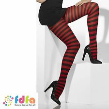 BLACK & RED STRIPE OPAQUE TIGHTS PANTYHOSE ladies accessory womens hosiery