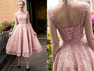 Blush Pink Tea Length Short Lace Prom Dress Party Cocktail
