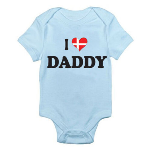Novelty Themed Baby Grow Dad Romper I LOVE DANISH DADDY Father Denmark