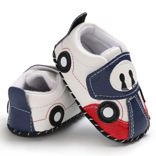 Toddler Baby Girls Boy Cartoon Car Walking Shoes Crib Casual Shoes Size 11-13