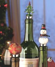 Set/3 Holiday Glass Wine Stoppers in Gift Boxes Snowman Tree Ornament NIP