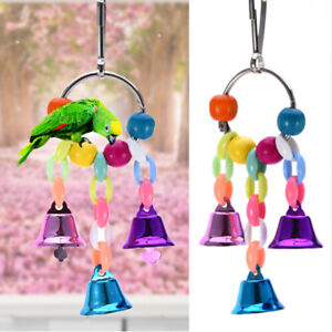 Pet Parrot Bird Climb Chew Toys Bell Swing Cage Hanging Cockatiel Parakeet  818693592456