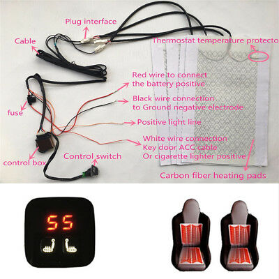 12V 44W Car Seat Carbon Fiber Heated Cushion Seat Heater Pad with Switch Control