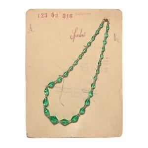 Czech-vintage-Uranium-bicone-glass-bead-necklace