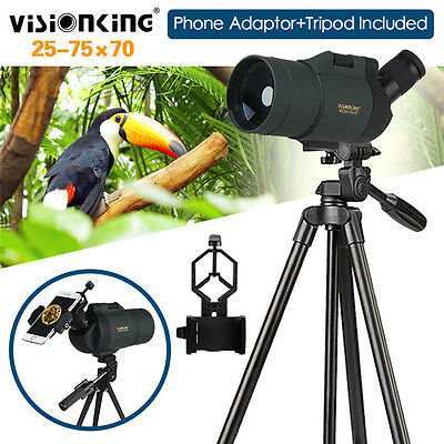 Visionking 25-75x70 Zoom Spotting Scope Bak4 w/Adaptor+Tripod Birdwatching Case