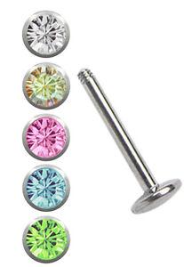 Titan-Schmuck-SET-Lippenpiercing-Labret-Stud-1-6mm-mit-5-farbigen-Kugeln-in-4mm