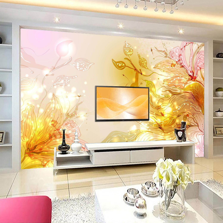 3D Golden flowers 277 Wall Paper Print Wall Decal Deco Indoor Wall Murals