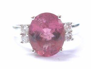 Distingué Fine Tourmaline Rose Diamant Or Blanc Solitaire W Accent Jewelry Ring 3.59 Ct-afficher Le Titre D'origine