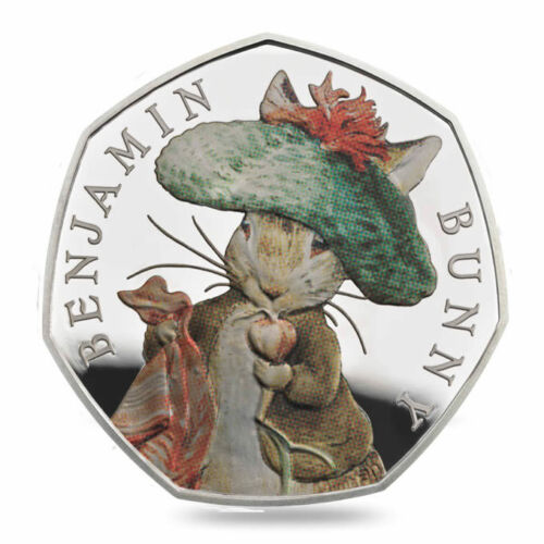 2017 Sterling Silver Proof Color Coin BENJAMIN BUNNY BEATRIX POTTER SERIES