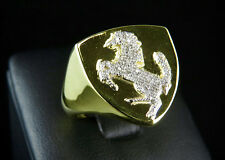 Men Sterling Silver Yellow Gold Finish Real Diamonds Ferrari Car Logo Ring .25ct