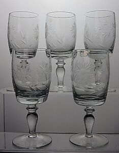 STUNNING-CUT-GLASS-CRYSTAL-SHERRY-PORT-GLASSES-SET-OF-5
