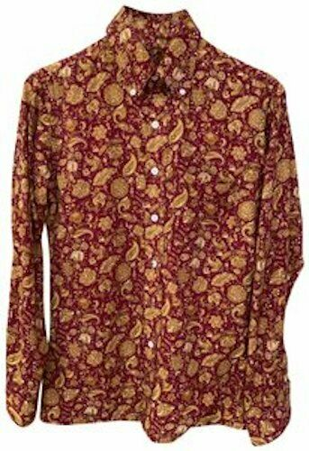 Paisley mods retro fitted silk men's button down … - image 1