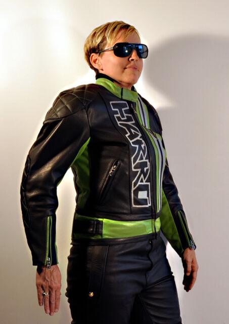schwarz-grüne HARRO Frisco Motorrad Lederjacke Größe 38 NEU Ladenpreis war 319€