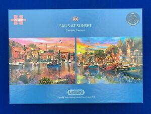 Gibsons-2-x-500-Piece-Jigsaws-Sails-At-Sunset-Used-See-details-1-piece-missing