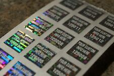 Qty 100 5 Inch Square Custom White Printed Silver Hologram Tamper Evident Label