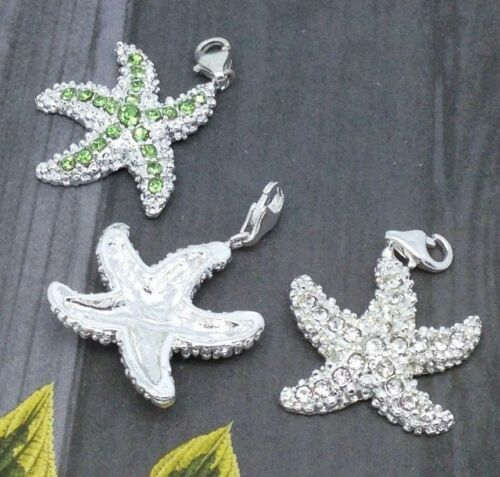 1pc Silver Plated Crystal Starfish Clip Bag Charm Keyring Ocean Jewelry 28x27mm
