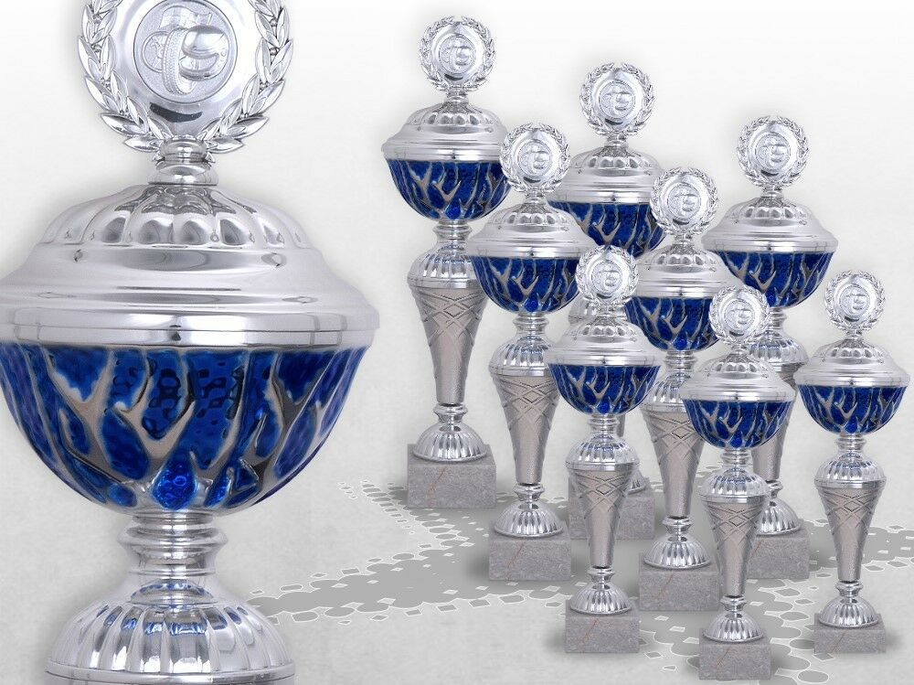 8er Pokalserie Pokale Blau STARLIGHT mit Gravur günstige Pokale silber / blau