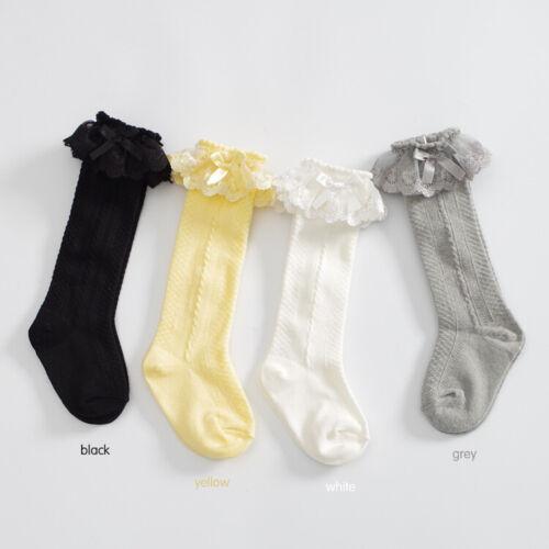 Girls Baby Kids Toddlers Knee High Vintage School Party Wedding Socks 9m-8yrs