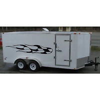Race Car Cargo Trailer Truck Checkered Flag Flames Graphic Kit Vinyl Decals