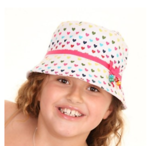 Childrens Multi Coloured Love Hearts 100/% Cotton Lined Bucket Sun Hat  2 sizes