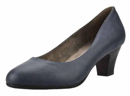 Ladies Soft Line 3909 Wide Fit Comfort Mid Heel Classic Navy Court Shoe