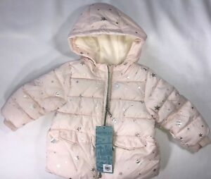 b9ba906fb NWT Old Navy Girls 12-18 Months Frost-Free Coat Pink w Silver Stars ...