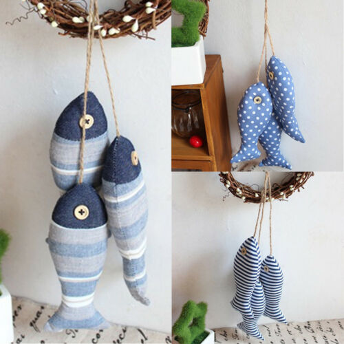 Mediterranean Cloth Fish Hanging Home Wall Nautical Handcraft Ornament Gift