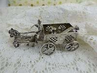 Antique Dutch Sterling Silver Figurine Horse & Cart hallmarked London 1909