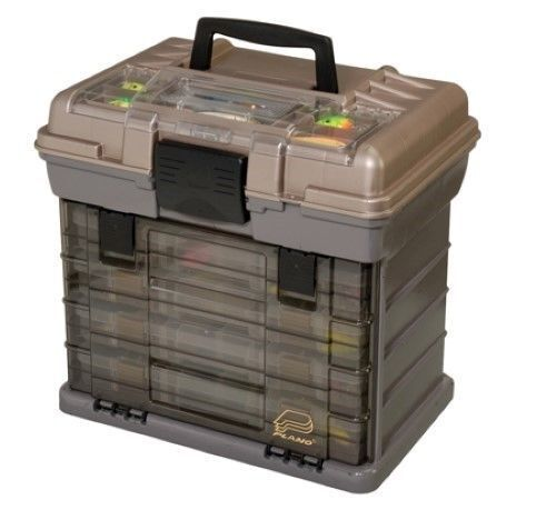 Plano Play 4-By Hard System Tackle Box GRAPHITE TAN Fishing Tackle Hard Box