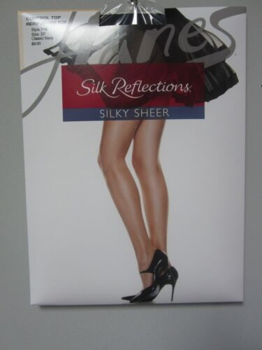 Hanes 718 Silk Reflections Control Top Reinforced Toe Classic Navy Pantyhose EF