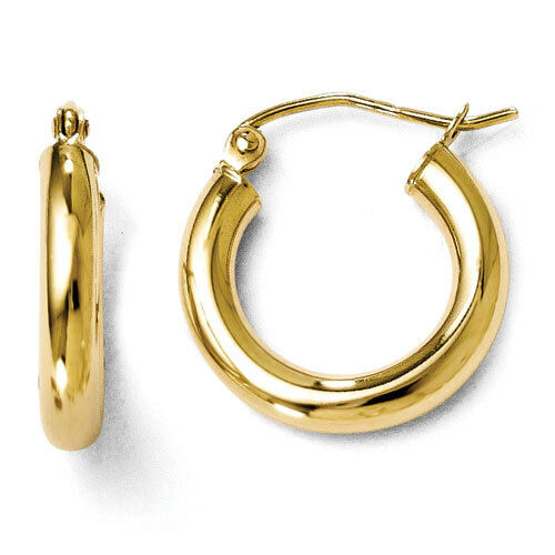Leslies 10k Yellow gold Polished 3mm x 16mm Hinged Hoop Earrings