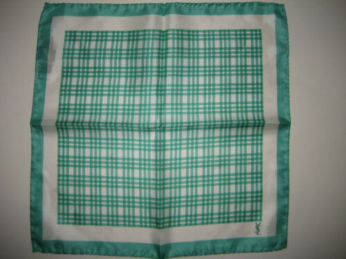 "$140 NEW Mens Yves Saint Laurent YSL Green Silk Handkerchief Pocket Square 13/"""