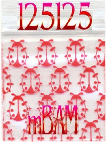 "100 PACK 2020 RED LADYBUGS APPLE ZIP POLY MINI Baggies 2.0x2.0/"""