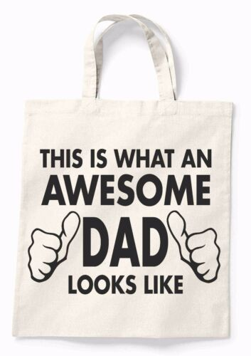 Awesome Dad Funny Canvas Tote Shopping Bag Cotton Printed Shopper Bag Gift