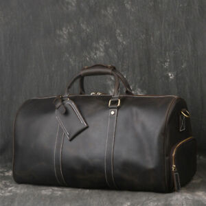 Mens-Genuine-Leather-Travel-Duffel-Gym-Outdoor-Weekend-Bag-Carry-on-Handbag