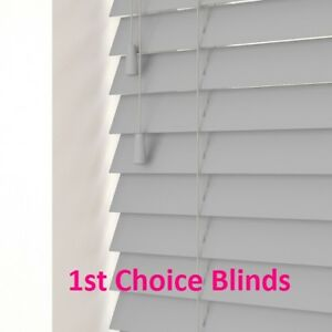 NEW Made to Measure Faux Wood Light Oak Venetian Window Blind Plastic 50mm Slats