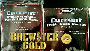 200 BCW, Current / Modern Comic Book Bags and Boards / Sleeves - NEW, Acid FREE